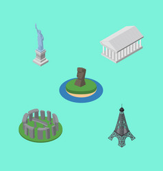 isometric cities set of athens england new york vector image vector image