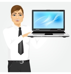 career man holding laptop vector image vector image