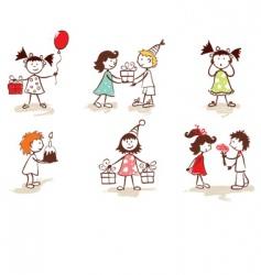 children celebrate birthday vector image vector image