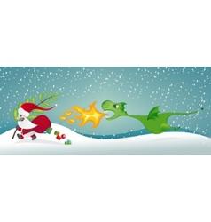 santa claus and the dragon vector image