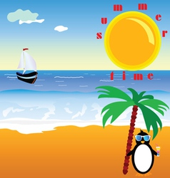summer time with penguin vector image