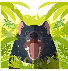Tasmanian devil on the Jungle Background vector image vector image