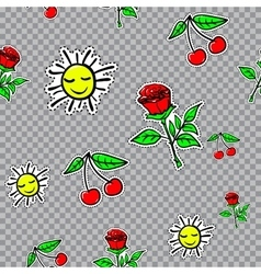 seamless sticker pattern with cherries sun vector image
