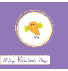 cute orange bird Happy Valentines Day vector image vector image