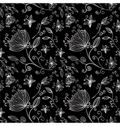 floral pattern silver vector image vector image