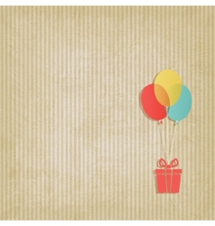 gift on colored balloons retro striped background vector image