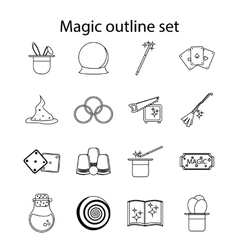 Magic icons set outline style vector image