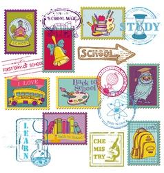 Set of SCHOOL stamps vector image vector image