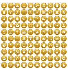 100 religious festival icons set gold vector