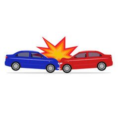 A cartoon car accident vector