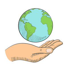 A hand holding globe vector
