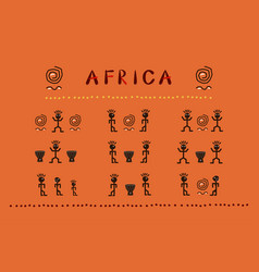 Africa set african funny ethnic characters vector