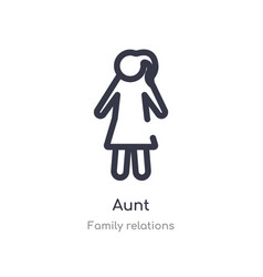 Aunt outline icon isolated line from family vector