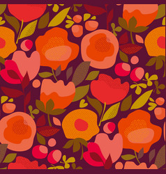 autumn abstract floral orange seamless pattern vector image