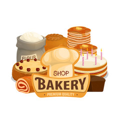 Bakery shop cakes pastry products vector