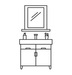 Bathroom mirror icon outline style vector