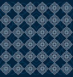 beautiful mandala seamless pattern on blue vector image