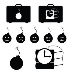 Bomb burn set with countdown in black color vector