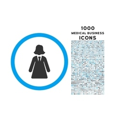 Business Lady Rounded Symbol With 1000 Icons vector