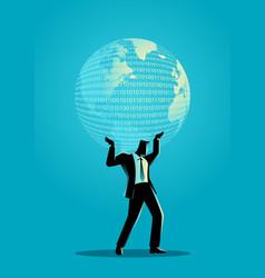 Businessman holding a digital globe vector