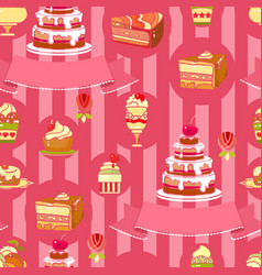 cake seamless pattern cute various vector image
