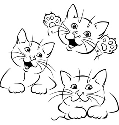cat playing - black outline vector image