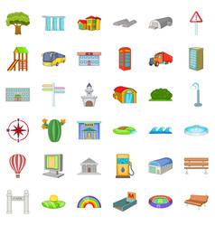 city transport icons set cartoon style vector image