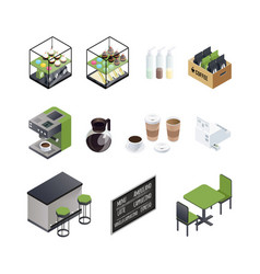 coffee house elements set vector image