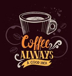 coffee poster for restaurant and cafe vector image