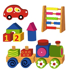 Colorful wooden toys vector