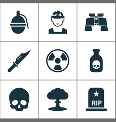 Combat icons set collection of bombshell vector