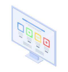 Computer monitor web surfing icon isometric style vector