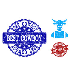 Cow boy scratched icon and stamps vector