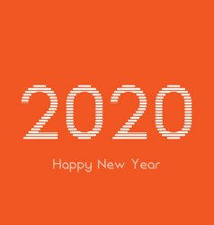 creative happy new year 2020 white line design vector image