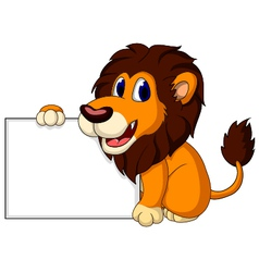 cute lion cartoon with blank sign vector image