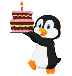 Cute penguin cartoon holding birthday cake vector image