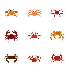 different crab icons set cartoon style vector image