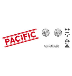 Distress pacific line stamp and collage vector