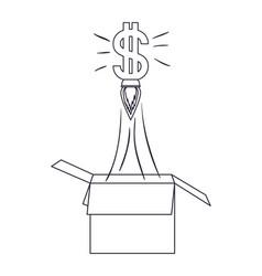 Dollar symbol rocket coming out box vector