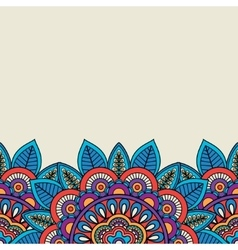 Doodle floral motifs and leaves border vector