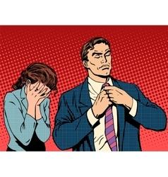 Family quarrel man leaves woman cries vector