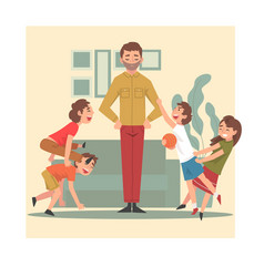 father and his mischievous children happy kids vector image