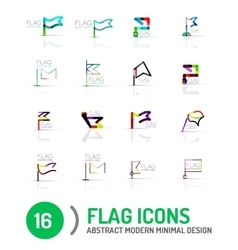 Flag icon logo set linear design vector image
