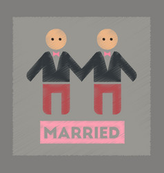 Flat shading style icon gay newlyweds vector