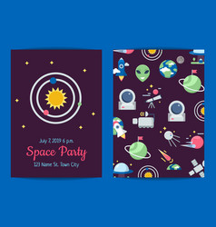 flat space icons party invitation template vector image