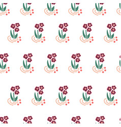 folk flowers seamless repeating background vector image