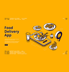 food delivery app isometric landing page banner vector image