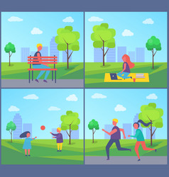 freelancer working in park vector image