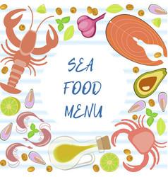 fresh seafood flat design vector image