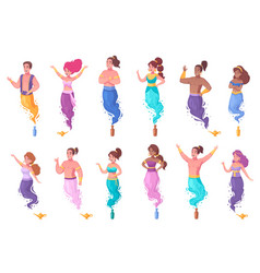 genie characters icons set vector image